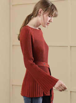 Trendy Brick Red Slash Neck Flare Sleeve Sweater With Bowknot