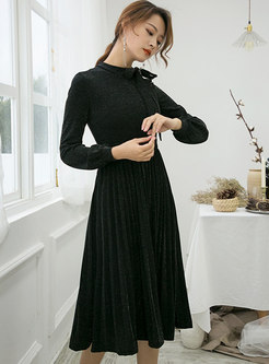 Pure Color Tied-collar Gathered Waist Pleated Dress