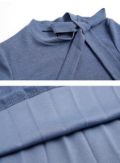 Elegant Long Sleeve Bowknot Gathered Waist Pleated Dress