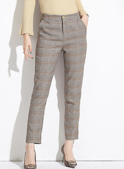 Casual Coffee Retro Plaid All-match Pencil Pants