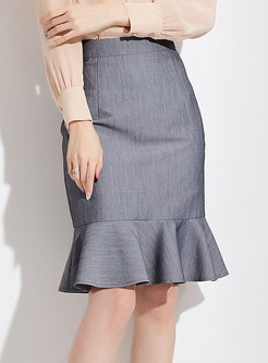Elegant Light Grey High Waist Mermaid Wrap Skirt