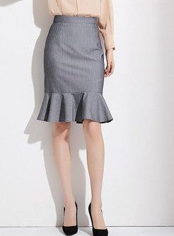 Elegant Light Grey High Waist Mermaid Wrap Skirt