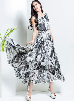 Fashion Plus Size Sleeveless Ink Print Maxi Dress