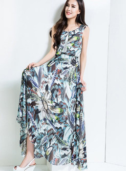 O-neck Sleeveless Feather Print Big Hem Waist Dress