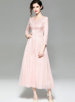 Elegant Long Sleeve Lace Embroidered Cocktail Dress