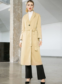 Fashion Notched Long Sleeve Tie-waist Trench Coat
