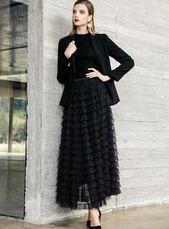 Stylish Mesh Elastic Waist A Line Skirt
