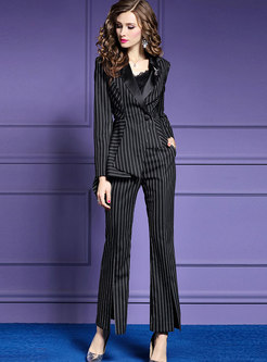 Autumn Work Trendy Striped Blazer & Flare Split Pants