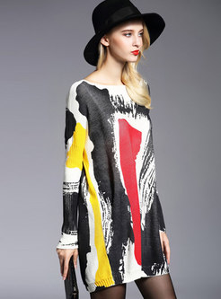 Chic Color-blocked Print Slash Neck Loose Sweater