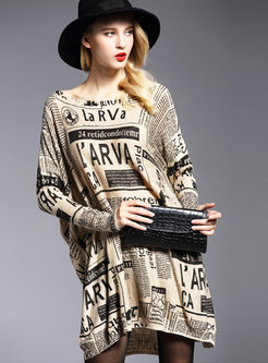 Chic Print O-neck Loose Pullover Knitted Sweater