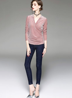 Chic Velvet Pink V-neck Slim Blouse