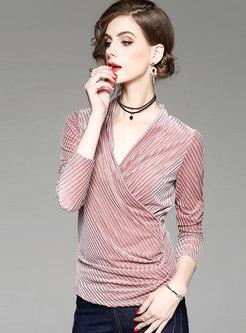 Chic Velvet Pink V-neck Slim Blouse