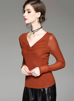 Stylish Solid Color V-neck Elastic Slim T-shirt