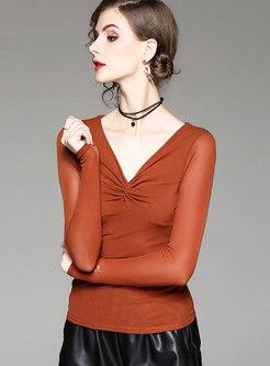 Stylish Solid Color V-neck Elastic Slim T-shirt
