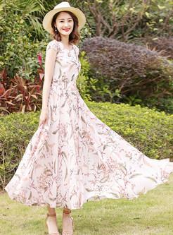 Sweet Floral Print Maxi Dress