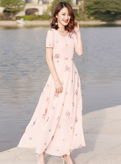 Sweet Pink Print V-neck Maxi Dress