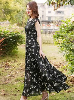 Brief Mesh Floral Print Maxi Dress
