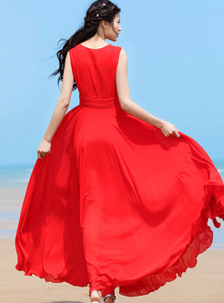 Red O-neck Sleeveless High Waisted Maxi Dress
