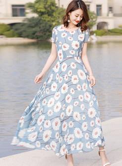 Elegant Print Short Sleeve Maxi Dress