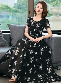 Black Waist Flower Print Maxi Dress