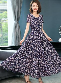 Elegant Fashion Slim Printing Maxi Dress