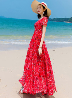 Red Floral Print Chiffon Maxi Dress