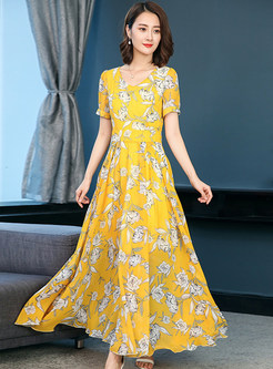 Yellow Floral Print V-neck Chiffon Dress