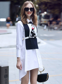 Lapel Long Sleeve Dress & Sequined Knitted Vest