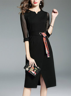 V-neck Three Quarters Sleeve Tied Slit Sheath Dress
