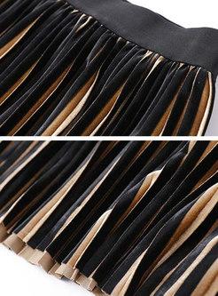 Fashion Striped Velvet Elastic Waist Pleated Skirt