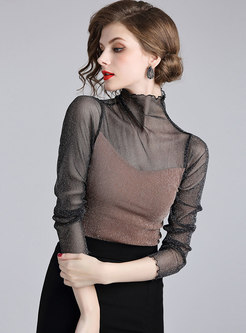 Chic Splicing High Neck Slim T-shirt