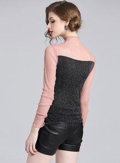 Chic Splicing Ruffled Collar Slim T-shirt