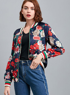 Casual Stylish Color-block Print Zippered Coat