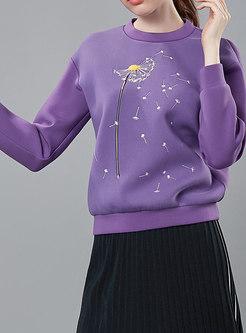 Casual Purple Pullover Long Sleeve Hoodies