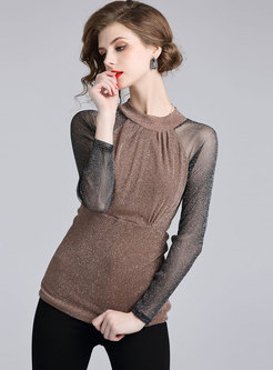 Trendy Mesh Splicing Stand Collar Slim Blouse