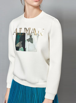 White Casual Long Sleeve Pullover Hoodies With Letter Front
