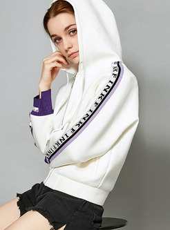Stylish Hooded Color-block Letter Stitching Sweatshirt