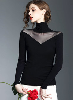 Chic Mesh Splicing See-through High Neck Slim T-shirt