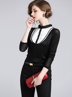Elegant Color-blocked Stand Collar Slim Blouse