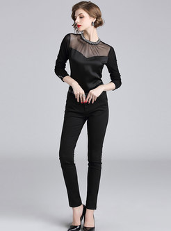 Sexy Splicing Perspective Drilling Slim Blouse