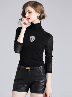 Black Turtleneck Pullover Slim T-shirt