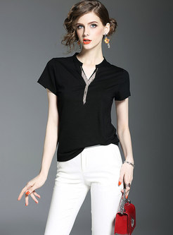 Pure Collar Short Sleeve Drilling Slim T-shirt