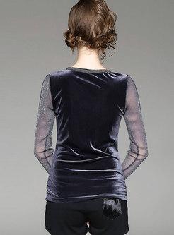Mesh Patchwork V-neck Slim T-shirt