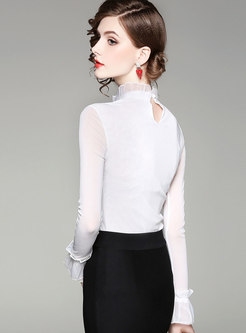 Elegant Solid Color Ruffled Collar Slim Blouse
