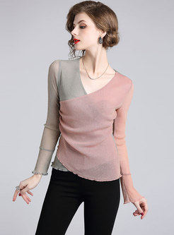 Color-blocked V-neck Flare Sleeve Transparent T-shirt