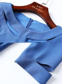 Brief Work Lake Blue Three Quarters Sleeve Wrap Sheath Dress