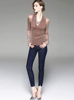 Chic Splicing Hollow Out Slim T-shirt