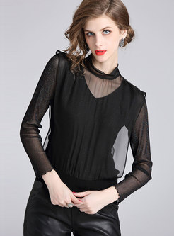 Stylish Splicing Stand Collar See-through Tie T-shirt