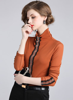 Elegant Splicing High Neck Slim T-shirt