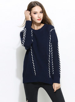 Chic Color-blocked Bat Sleeve Knitted Sweater